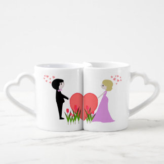 Two lovers mug with pink hearts