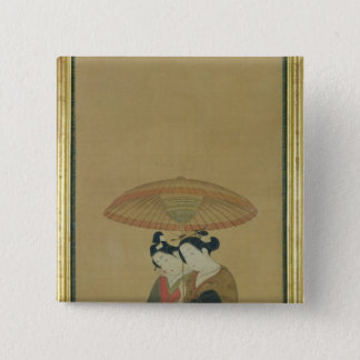 Two Lovers under an Umbrella 15 Cm Square Badge