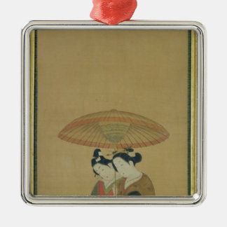 Two Lovers under an Umbrella Christmas Ornament