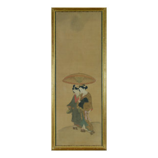 Two Lovers under an Umbrella Poster