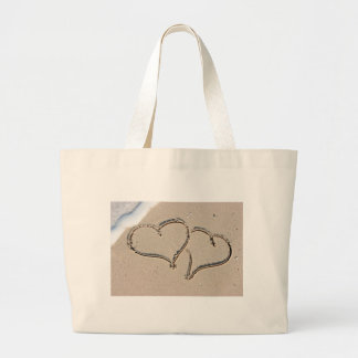 Two loving hearts large tote bag
