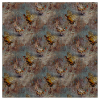 Two male ring-neck pheasants fighting. fabric