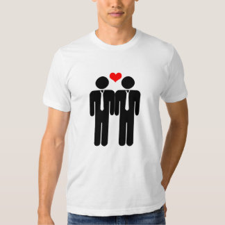Two Male Silhouettes In Ties with a Love Heart Shirt