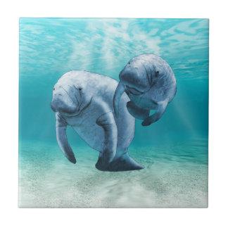 Two Manatees Swimming Ceramic Tiles