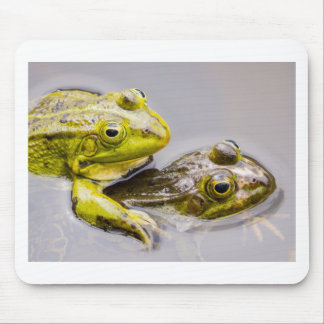 Two mating green frogs mouse pad
