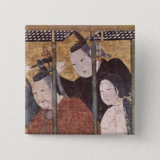 Two men and woman behind awning, detail screen 15 cm square badge