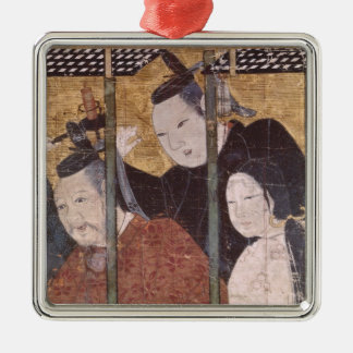 Two men and woman behind awning, detail screen christmas ornament