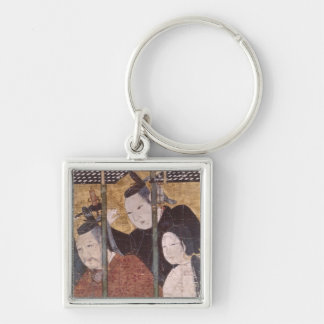Two men and woman behind awning, detail screen key ring