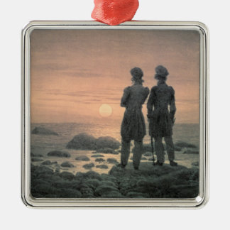 Two Men by The Sea Silver-Colored Square Decoration