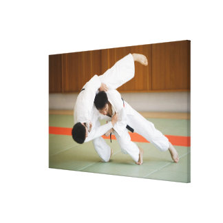 Two Men Competing in a Judo Match 2 Canvas Print
