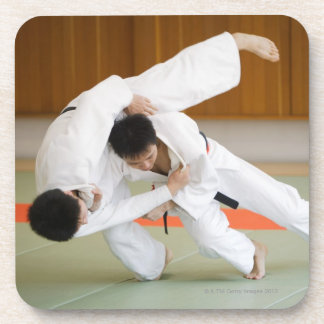 Two Men Competing in a Judo Match 2 Beverage Coasters