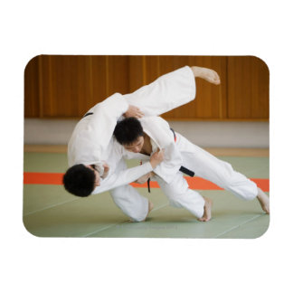 Two Men Competing in a Judo Match 2 Rectangular Photo Magnet
