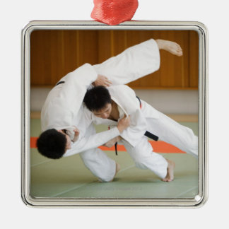 Two Men Competing in a Judo Match 2 Silver-Colored Square Decoration