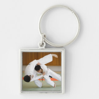 Two Men Competing in a Judo Match 2 Silver-Colored Square Key Ring