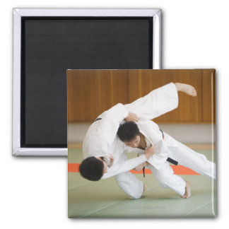 Two Men Competing in a Judo Match 2 Square Magnet