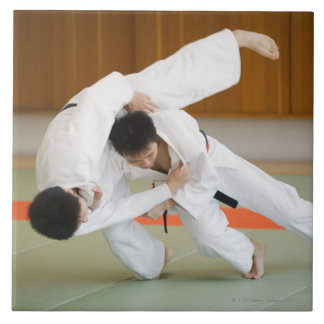 Two Men Competing in a Judo Match 2 Ceramic Tile