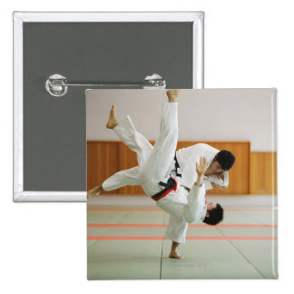 Two Men Competing in a Judo Match 3 15 Cm Square Badge
