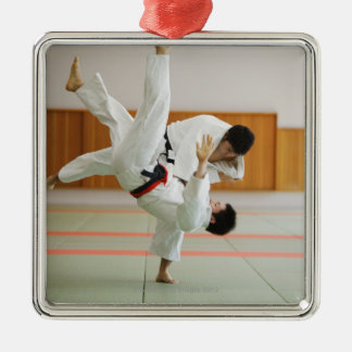 Two Men Competing in a Judo Match 3 Christmas Tree Ornaments