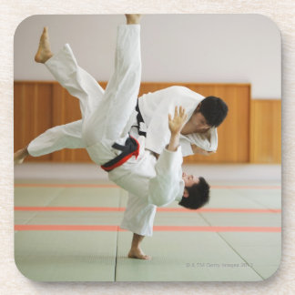 Two Men Competing in a Judo Match 3 Drink Coasters