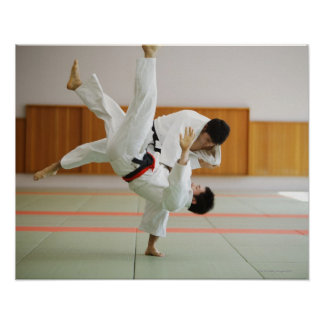 Two Men Competing in a Judo Match 3 Poster