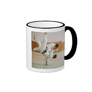 Two Men Competing in a Judo Match 3 Ringer Mug
