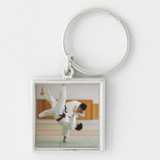 Two Men Competing in a Judo Match 3 Silver-Colored Square Key Ring