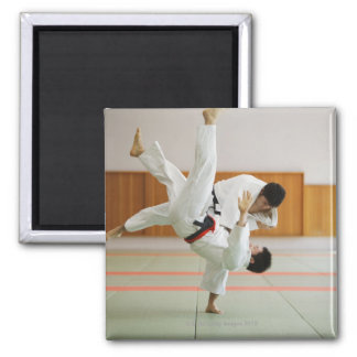 Two Men Competing in a Judo Match 3 Square Magnet
