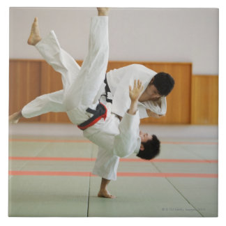 Two Men Competing in a Judo Match 3 Ceramic Tile