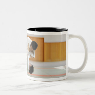 Two Men Competing in a Judo Match 3 Two-Tone Mug