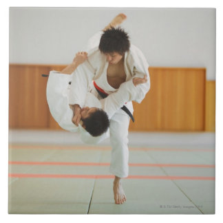 Two Men Competing in a Judo Match Large Square Tile