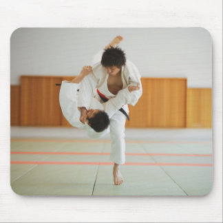 Two Men Competing in a Judo Match Mouse Mat