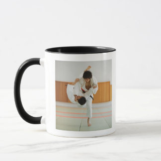 Two Men Competing in a Judo Match Mug
