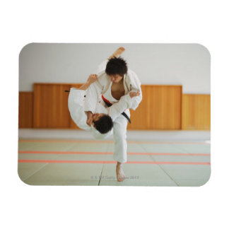 Two Men Competing in a Judo Match Rectangular Photo Magnet