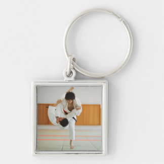 Two Men Competing in a Judo Match Silver-Colored Square Key Ring