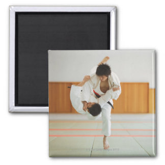 Two Men Competing in a Judo Match Square Magnet