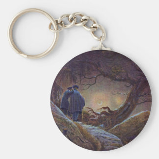 Two Men Contemplating The Moon By Friedrich Caspar Basic Round Button Key Ring
