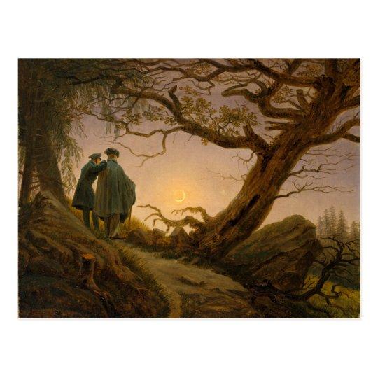 Two Men Contemplating the Moon - Friedrich Postcard