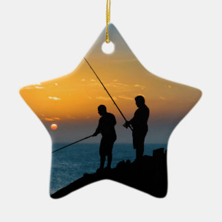 Two Men Fishing at Shore Christmas Ornament