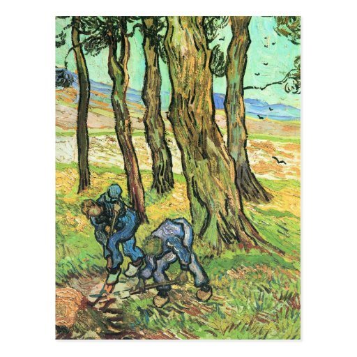 Two men in digging out a tree stump by van Gogh Postcards