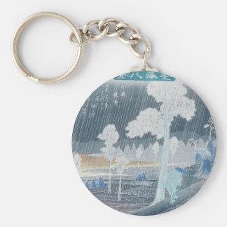 Two Men in the Rain circa 1800's Japan Basic Round Button Key Ring