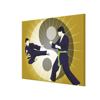 Two men performing martial arts in front of a canvas print