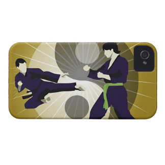Two men performing martial arts in front of a iPhone 4 cover