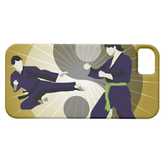 Two men performing martial arts in front of a case for the iPhone 5