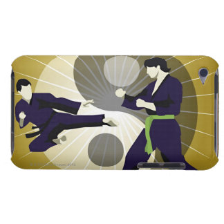 Two men performing martial arts in front of a iPod touch cover