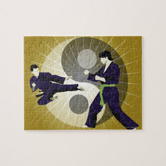 Two men performing martial arts in front of a jigsaw puzzle