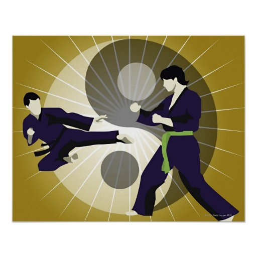 Two men performing martial arts in front of a poster