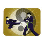 Two men performing martial arts in front of a rectangular photo magnet