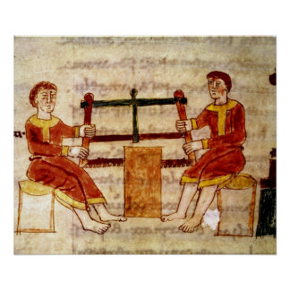 Two Men Sawing Wood, from 'De Universo' Poster