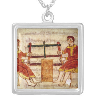 Two Men Sawing Wood, from 'De Universo' Silver Plated Necklace