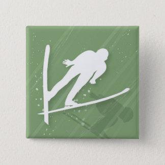 Two Men Ski Jumping 15 Cm Square Badge